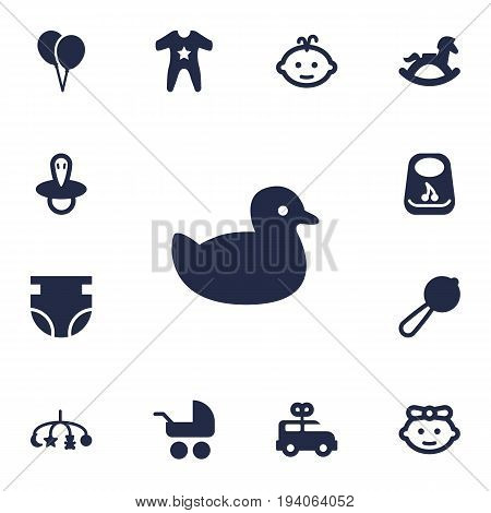Set Of 13 Baby Icons Set.Collection Of Duck, Pram, Hangings And Other Elements.