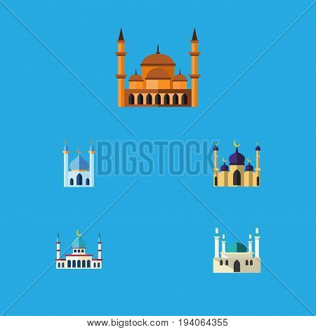 Flat Icon Building Set Of Mosque, Structure, Architecture And Other Vector Objects. Also Includes Architecture, Building, Mosque Elements.