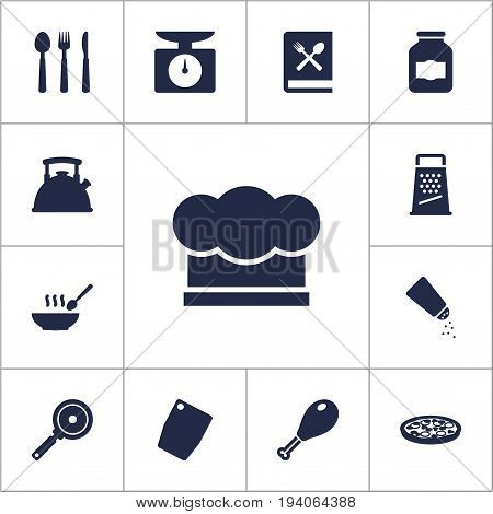 Set Of 13 Culinary Icons Set.Collection Of Pepperoni, Broth, Teapot And Other Elements.