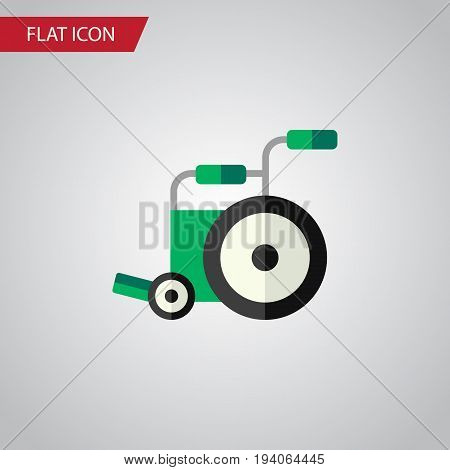 Isolated Wheelchair Flat Icon. Equipment Vector Element Can Be Used For Equipment, Wheelchair, Disabled Design Concept.