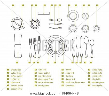 Table Setting Place Formal Thin Line Design Style Top View Placement Etiquette. Vector illustration