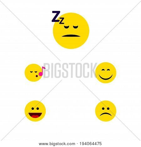 Flat Icon Emoji Set Of Sad, Smile, Asleep And Other Vector Objects. Also Includes Laugh, Sleeping, Asleep Elements.