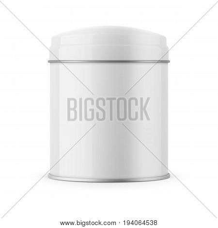 Round white glossy tin can with dome lid. Container for dry products - tea, coffee, sugar, candy, spice. Realistic packaging mockup template. Vector illustration.