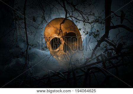 Human skull with old fence over smoke dead tree crow moon and cloudy sky Spooky background Halloween concept