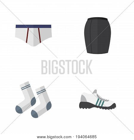 Flat Icon Clothes Set Of Sneakers, Foot Textile, Stylish Apparel And Other Vector Objects. Also Includes Textile, Apparel, Gumshoes Elements.