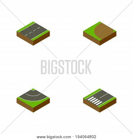 Isometric Way Set Of Footpassenger, Cracks, Turning And Other Vector Objects. Also Includes Earthquake, Bitumen, Cracks Elements.