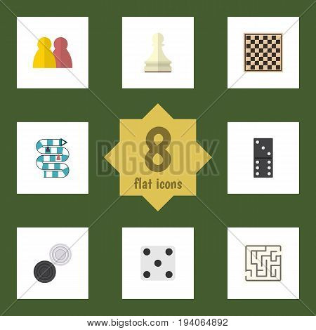 Flat Icon Games Set Of Pawn, Chequer, Chess Table And Other Vector Objects. Also Includes Checkers, Backgammon, Checkerboard Elements.