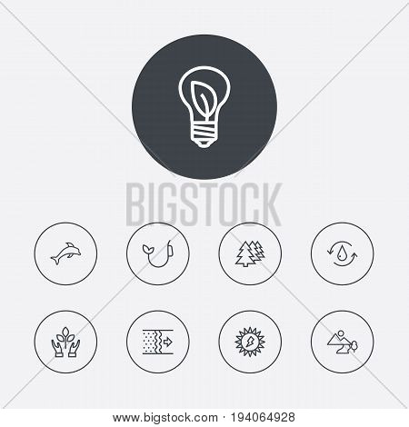 Set Of 9 Ecology Outline Icons Set.Collection Of Nature, Afforestation, Fuel And Other Elements.