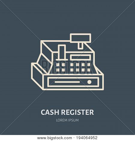 Cash register vector flat line icons. Retail store supplies, trade shop equipment sign. Commercial object thin linear sign for warehouse store.
