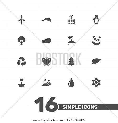 Set Of 16 Nature Icons Set.Collection Of Isle Beach, Moth, Conservation And Other Elements.