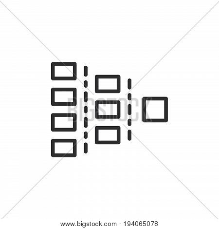 Org chart line icon outline vector sign linear style pictogram isolated on white. Symbol logo illustration