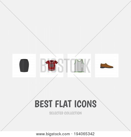 Flat Icon Clothes Set Of Male Footware, Singlet, Stylish Apparel And Other Vector Objects. Also Includes Shirt, Blouse, Man Elements.