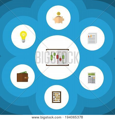 Flat Icon Gain Set Of Billfold, Document, Money Box And Other Vector Objects. Also Includes Paper, Billfold, Counter Elements.
