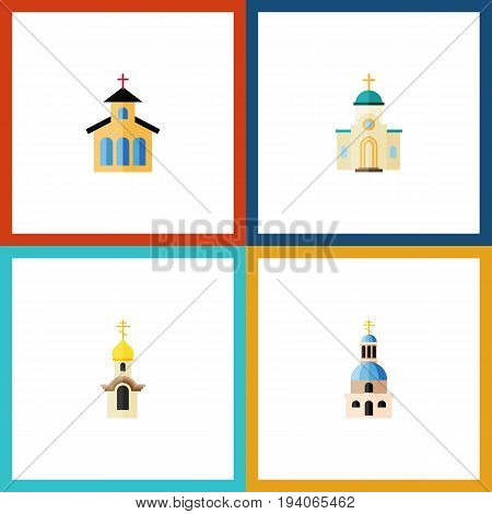 Flat Icon Christian Set Of Religious, Church, Catholic And Other Vector Objects. Also Includes Religious, Christian, Church Elements.