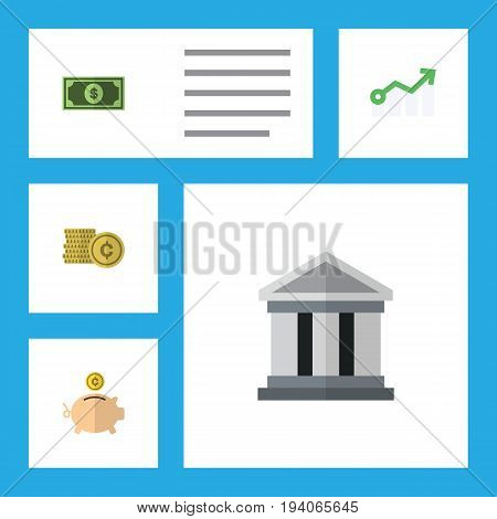 Flat Icon Incoming Set Of Money Box, Greenback, Cash And Other Vector Objects. Also Includes Diagram, Money, Dollar Elements.