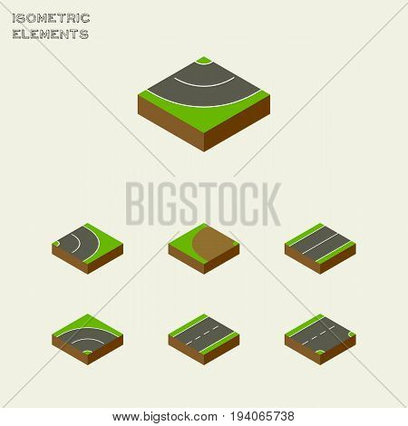 Isometric Road Set Of Plane, Road, Asphalt And Other Vector Objects. Also Includes Flat, Road, Lane Elements.