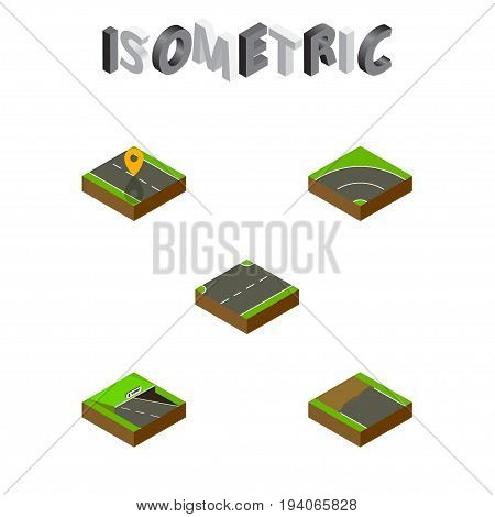 Isometric Way Set Of Navigation, Upwards, Underground And Other Vector Objects. Also Includes Subway, Incomplete, Up Elements.