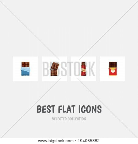 Flat Icon Chocolate Set Of Wrapper, Chocolate Bar, Sweet And Other Vector Objects. Also Includes Shaped, Wrapper, Confection Elements.