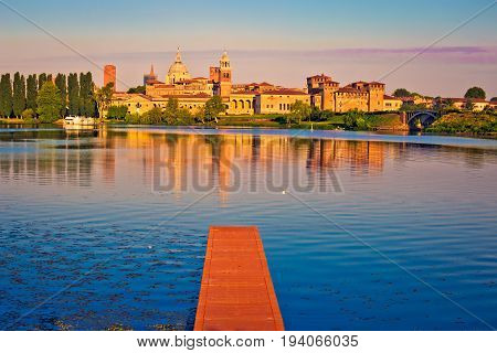 City Of Mantova Skyline Early Morning View From Lago Inferiore