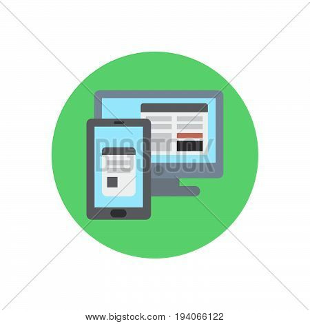 Responsive adjustable design flat icon. Round colorful button Monitor and smartphone circular vector sign logo illustration. Flat style design