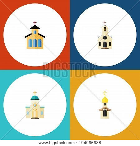 Flat Icon Building Set Of Structure, Building, Religious And Other Vector Objects. Also Includes Architecture, Building, Christian Elements.