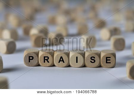 Praise - Cube With Letters, Sign With Wooden Cubes
