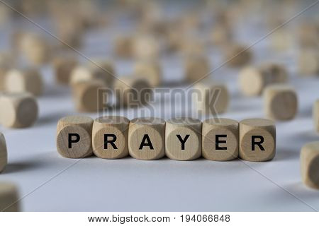 Prayer - Cube With Letters, Sign With Wooden Cubes