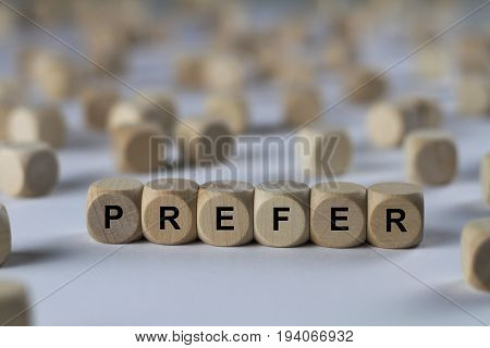 Prefer - Cube With Letters, Sign With Wooden Cubes