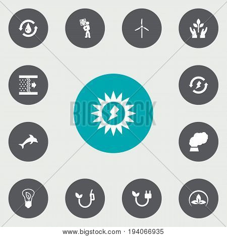 Set Of 13 Atmosphere Icons Set.Collection Of Fan, Treatment, Friendly And Other Elements.