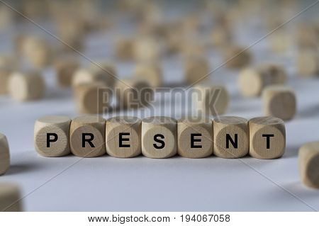 Present - Cube With Letters, Sign With Wooden Cubes
