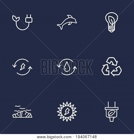 Set Of 9 Bio Outline Icons Set.Collection Of Garbage, Recycling, Renewable Energy And Other Elements.