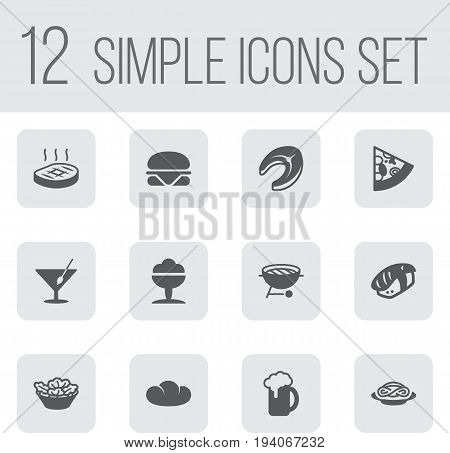 Set Of 12 Eat Icons Set.Collection Of Lettuce, Baguette, Seafood And Other Elements.