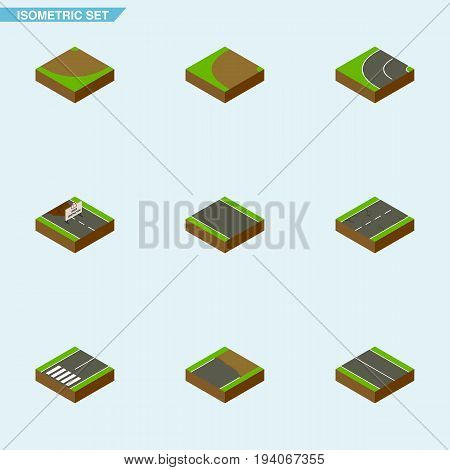 Isometric Road Set Of Way, Turn, Without Strip And Other Vector Objects. Also Includes Construction, Turning, Road Elements.