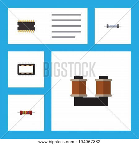 Flat Icon Electronics Set Of Resistance, Coil Copper, Microprocessor And Other Vector Objects. Also Includes Coil, Electronics, Processor Elements.