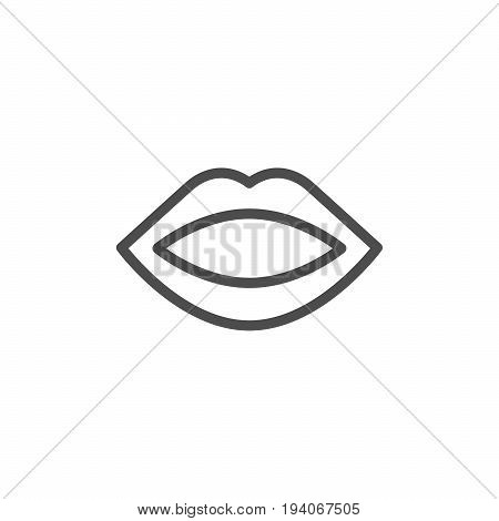 Human mouth line icon isolated on white. Vector illustration