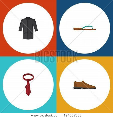 Flat Icon Dress Set Of Uniform, Beach Sandal, Male Footware Vector Objects. Also Includes Man, Clothes, Shoe Elements.