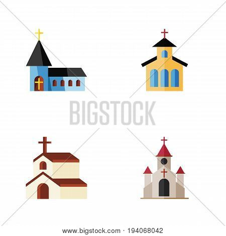 Flat Icon Christian Set Of Christian, Catholic, Traditional And Other Vector Objects. Also Includes Christian, Building, Church Elements.