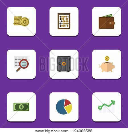 Flat Icon Finance Set Of Growth, Strongbox, Billfold And Other Vector Objects. Also Includes Abacus, Safe, Money Elements.