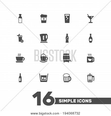 Set Of 16 Drinks Icons Set.Collection Of Milk Glass, Cream, Fizzy Water And Other Elements.