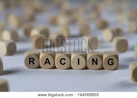 Racing - Cube With Letters, Sign With Wooden Cubes