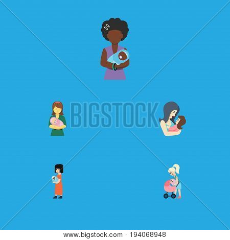 Flat Icon Mam Set Of Newborn Baby, Mother, Baby And Other Vector Objects. Also Includes Newborn, Mam, Perambulator Elements.