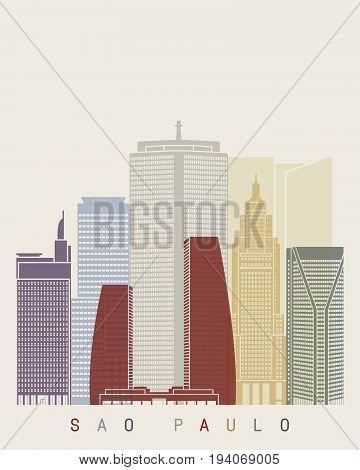Sao Paulo V2 skyline poster in editable vector file