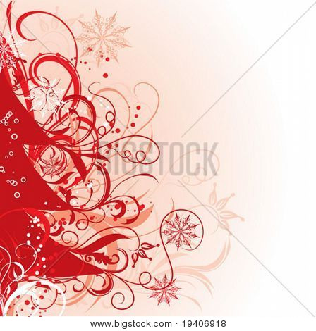 Christmas tree, winter background, vector illustration