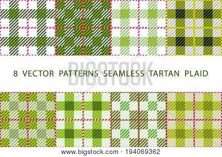 Set of 8 abstract stylish geometrical seamless patterns with celtic ornament of Lime green and white shades VECTOR TARTAN PLAID art