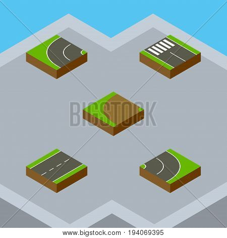 Isometric Road Set Of Driveway, Strip, Turning And Other Vector Objects. Also Includes Driveway, Lane, Rotation Elements.