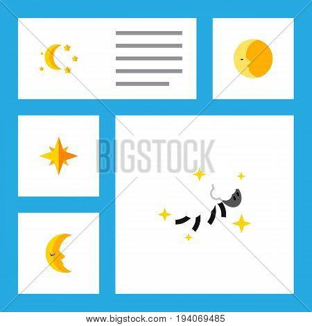 Flat Icon Night Set Of Night, Bedtime, Lunar And Other Vector Objects. Also Includes Night, Star, Moon Elements.