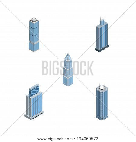 Isometric Skyscraper Set Of Exterior, Skyscraper, Urban And Other Vector Objects. Also Includes Skyscraper, Exterior, Urban Elements.