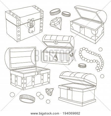 Hidden treasures set pattern. Sapphires and diamonds. Coins and emeralds. Vector illustration, EPS 10