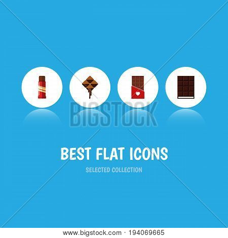 Flat Icon Cacao Set Of Chocolate, Sweet, Delicious And Other Vector Objects. Also Includes Cocoa, Confection, Bitter Elements.