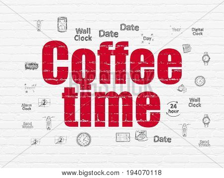 Time concept: Painted red text Coffee Time on White Brick wall background with  Hand Drawing Time Icons